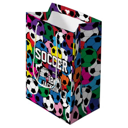Multicolor Soccer Ball Collage Medium Gift Bag