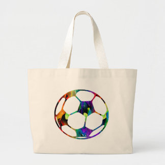 MULTICOLOR SOCCER BALL PRODUCTS LARGE TOTE BAG
