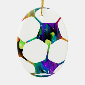 MULTICOLOR SOCCER BALL PRODUCTS Double-Sided OVAL CERAMIC CHRISTMAS ORNAMENT