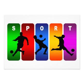 Multicolor Soccer Emblem Custom Invites