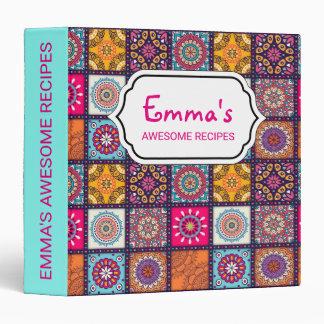 Multicolor spiritual mandala floral tiled pattern binder
