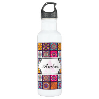 Multicolor spiritual mandala floral tiled pattern water bottle