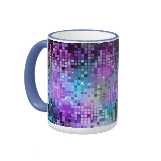 MultiColor Squares Mosaic Pattern Ringer Coffee Mug