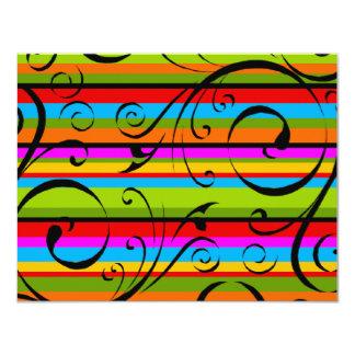 Multicolor Stripe Flourish 4.25x5.5 Paper Invitation Card