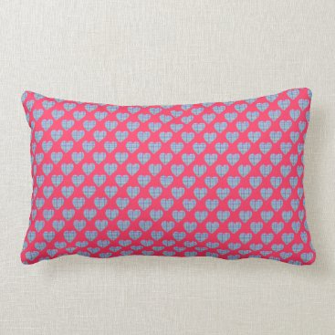 Beach Themed Multicolor striped blue hearts on bright pink lumbar pillow