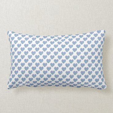 Beach Themed Multicolor striped blue hearts on white lumbar pillow