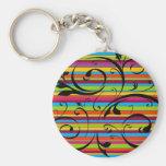 Multicolor Striped Flourish Key Chains