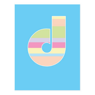 Multicolor Striped Monogram - Letter D Postcard