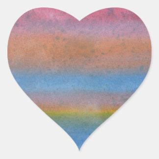 Multicolor Stripes. Heart Sticker