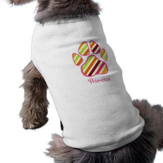 Multicolor Stripes Paw Print Pet Shirt