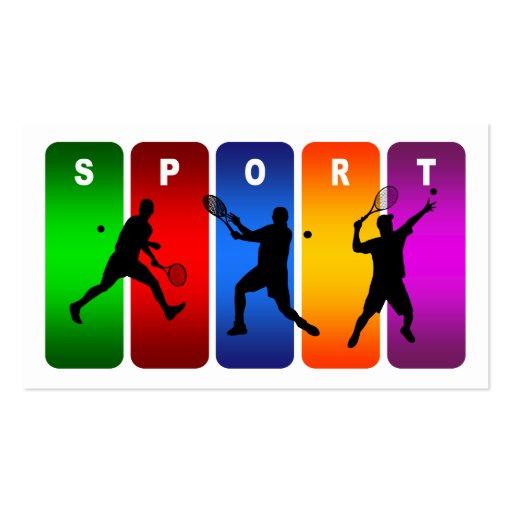 Multicolor Tennis Emblem (Male) Business Cards