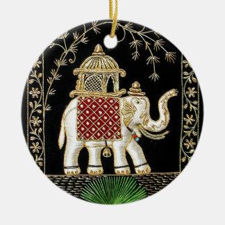 Multicolor Thread and Zari Embroidered Royal Eleph Ceramic Ornament