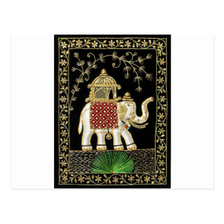 Multicolor Thread and Zari Embroidered Royal Eleph Postcard