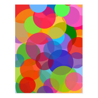 Multicolor Transparent Circles & Dots Postcard