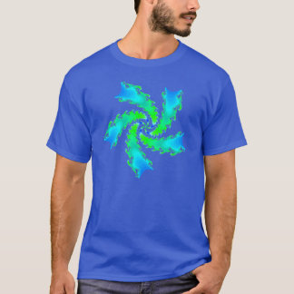 Multicolor turquoise and green fractal spiral T-Shirt