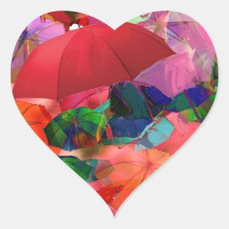 Multicolor umbrellas heart sticker