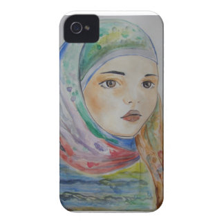 Multicolor veil, scarved girl, muslim girl, woman iPhone 4 Case-Mate case