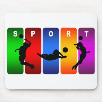 Multicolor Volleyball Emblem Mouse Pad