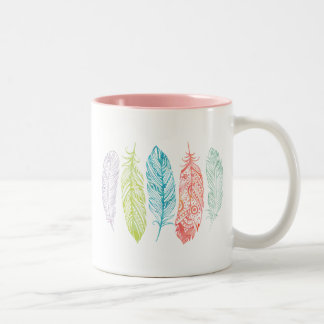 Multicolor Watercolor Feather Tribal Print Mug
