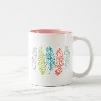 Multicolor Watercolor Feather Tribal Print Mug