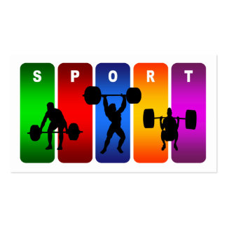 Multicolor Weight Lifting Emblem Business Card