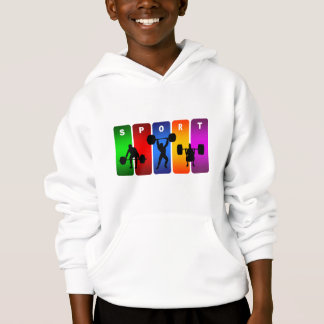 Multicolor Weight Lifting Emblem Hoodie