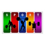 Multicolor Weight Lifting Emblem Posters