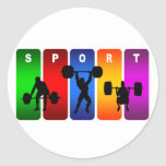Multicolor Weight Lifting Emblem Classic Round Sticker