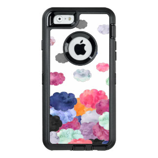 Multicolor whimsical watercolour clouds pattern OtterBox defender iPhone case
