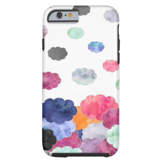 Multicolor whimsical watercolour clouds pattern tough iPhone 6 case