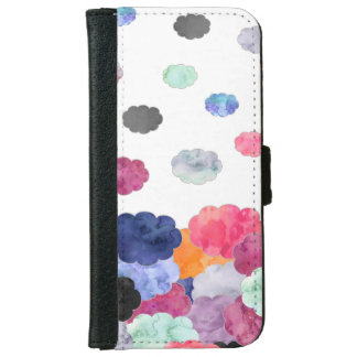Multicolor whimsical watercolour clouds pattern wallet phone case for iPhone 6/6s