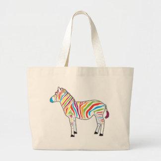 Multicolor Zebra Tote Bags