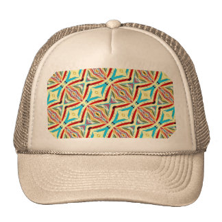 Multicolored Abstract Chains. Geometric Pattern Mesh Hat