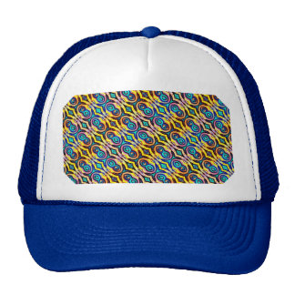 Multicolored Abstract Chains. Geometric Pattern Trucker Hats