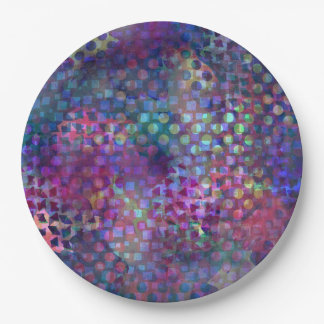 Multicolored Abstract Digital Art Paper Plate