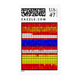 Multicolored abstract Fabric pattern Postage