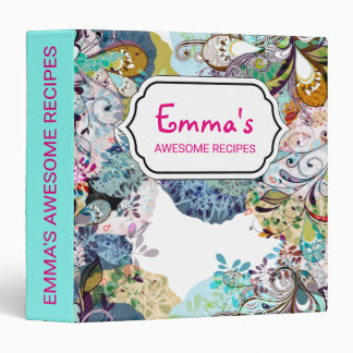 Multicolored abstract floral overlay pattern 3 ring binder