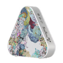 Multicolored abstract floral overlay pattern bluetooth speaker