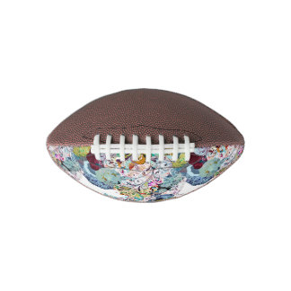 Multicolored abstract floral overlay pattern football