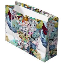 Multicolored abstract floral overlay pattern large gift bag