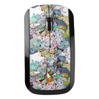 Multicolored abstract floral overlay pattern wireless mouse