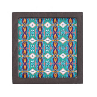 Multicolored Abstract Flowers. Elegant Design Premium Trinket Box