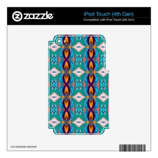 Multicolored Abstract Flowers. Elegant Design iPod Touch 4G Skin