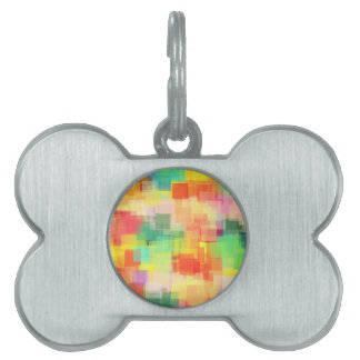 Multicolored Abstract Geometric Pattern Pet Name Tags