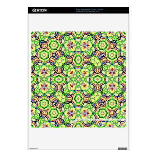 Multicolored Abstract Kaleidoscope Decals For PS3 Slim