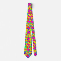 Multicolored Abstract Pattern Design Neck Tie
