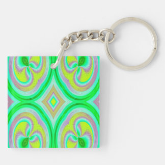 Multicolored abstract pattern keychain