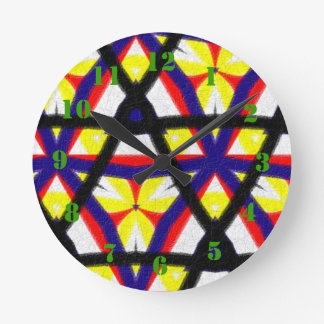 Multicolored abstract pattern round clock