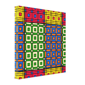 Multicolored African Squares and Rectangles Canvas Print