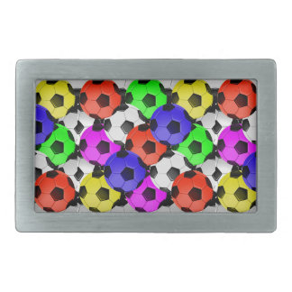 Multicolored American Soccer or Football Rectangular Belt Buckle